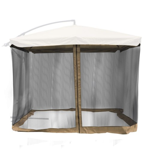 9 X9 Square Patio Umbrella Mosquito Net Gazebo Top Netting Tan