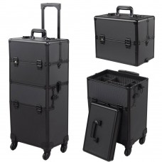 4-Wheel Rolling 2in1 Makeup Train Cosmetic Case Black
