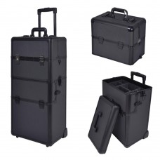Professional Rolling Train Cosmetic Makeup Case Black