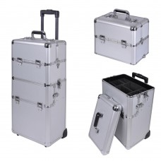 Professional Rolling Train Cosmetic Makeup Case Silver
