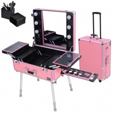 Pro Rolling Studio Cosmetic Makeup Case with Light Pink