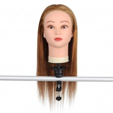 "22"" Mannequin Head w/ 50% Real Human Hair & Holder"