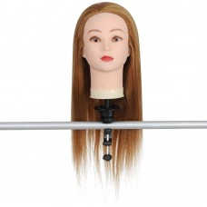 "24"" Mannequin Head w/ 50% Real Human Hair & Holder"