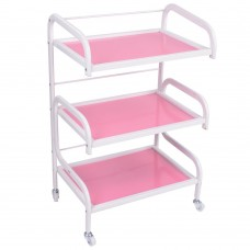 3-Tier Pink Glass Rolling Trolley Cart Salon Storage